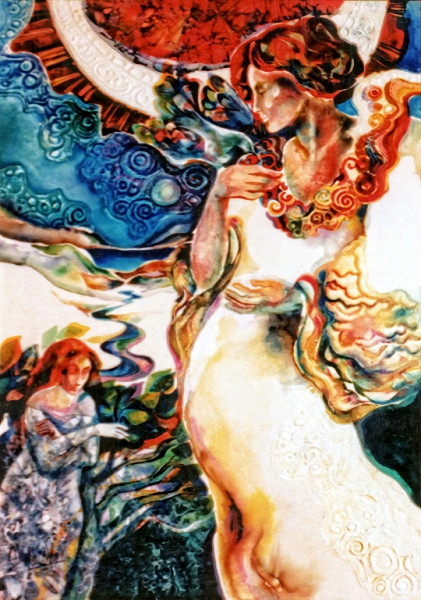 1980 - KISS OF THE DOVE – Watercolor on Board with Resin Covering - 20X30
