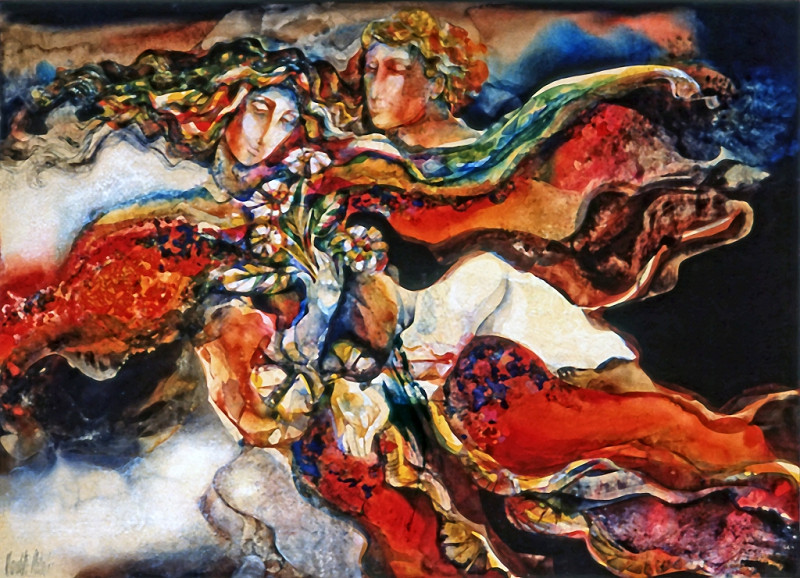 1974 -  FANCIFUL ROMANCE - Watercolor on Board - 30X40