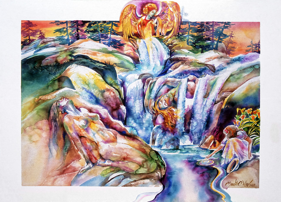 1991 - SURRENDERING TO THE WATERS TOUCH - Watercolor - 30X40