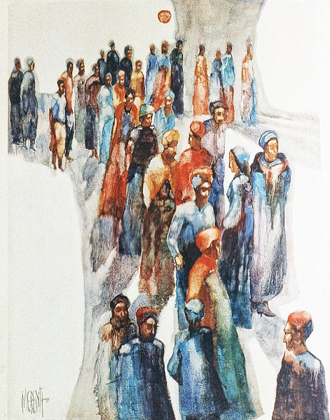 1972 -  THE MEETING OF THE MASTERS - Oil Wash on Canvas - 40X60