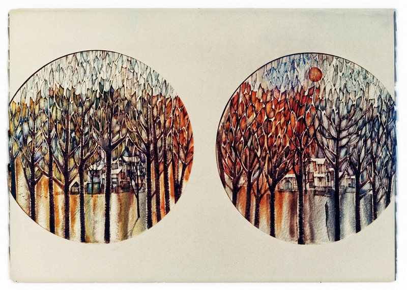 1971 - THROUGH THE CRYSTAL TREES - CHANGE OF SEASONS -  Watercolor on Board – 40X60
