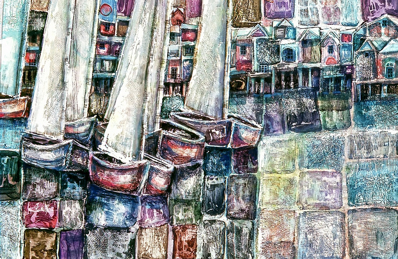 1970 – CEMENT SAILS - Acrylic on Board - 30X40