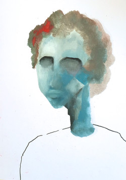 Blue head with red dot (sold)