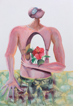 Man and hibiscus in sea water