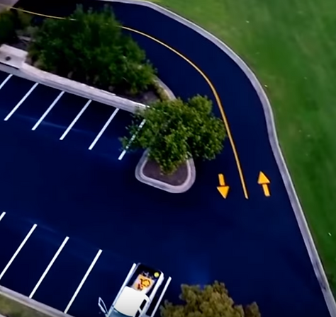 Striping a parking lot in Round Rock, TX | Texan Paving