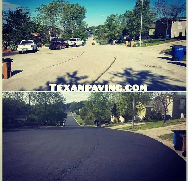 Fresh seal coat on the drive of an HOA in Austin Texas.