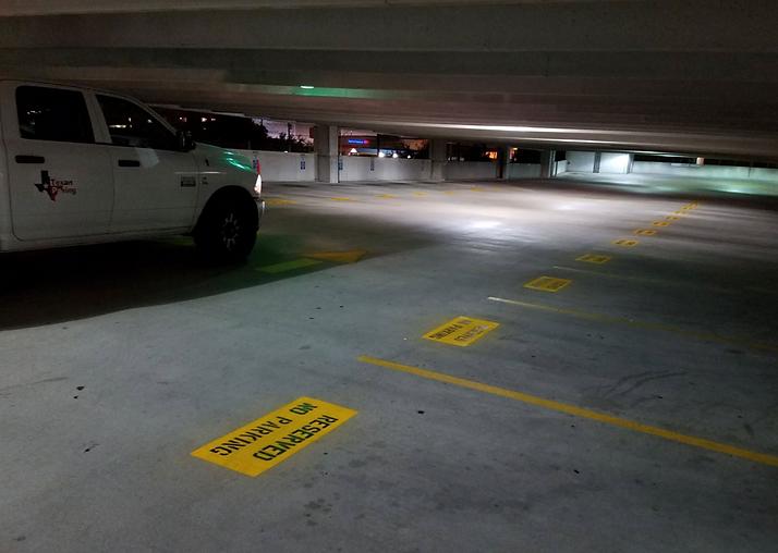 Parking garage stenciling