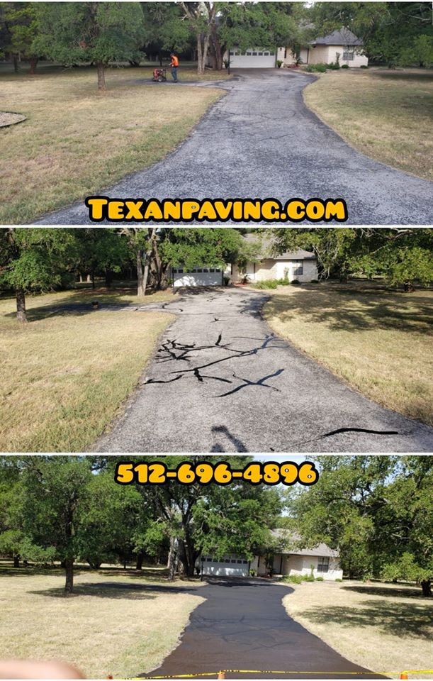 Asphalt driveway crack sealing, and sealcoating on a home in North Austin Texas.