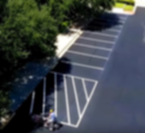 Striping a parking lot in San Marco, TX