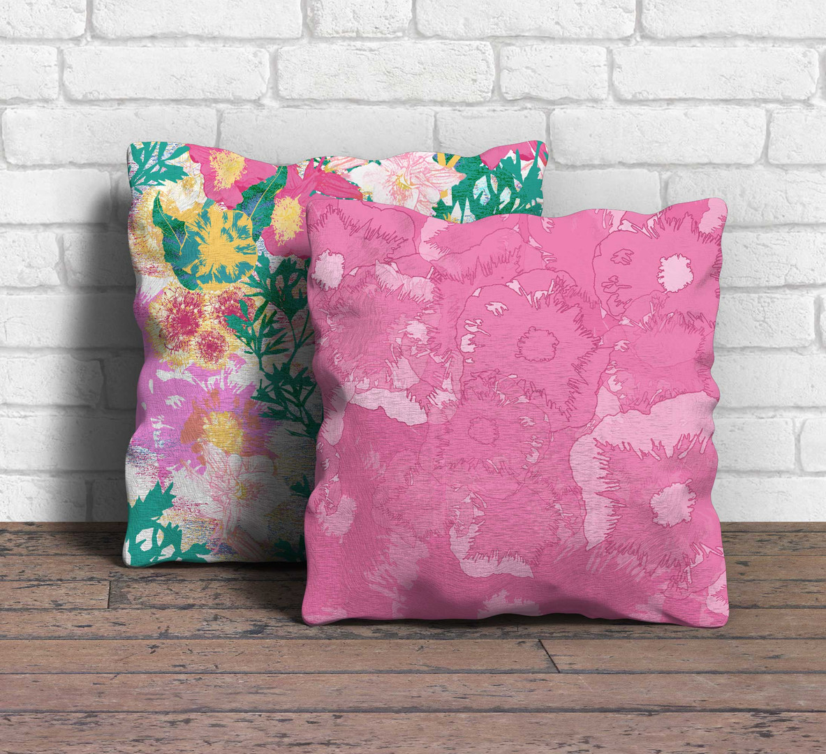 Floral collage cushions