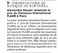 Press release, La scena Musicale