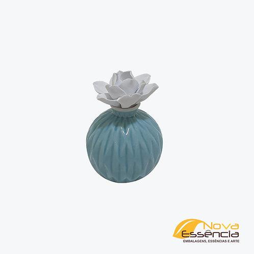 BOTIJA COM FLOR AZUL/BRANCO - 040157