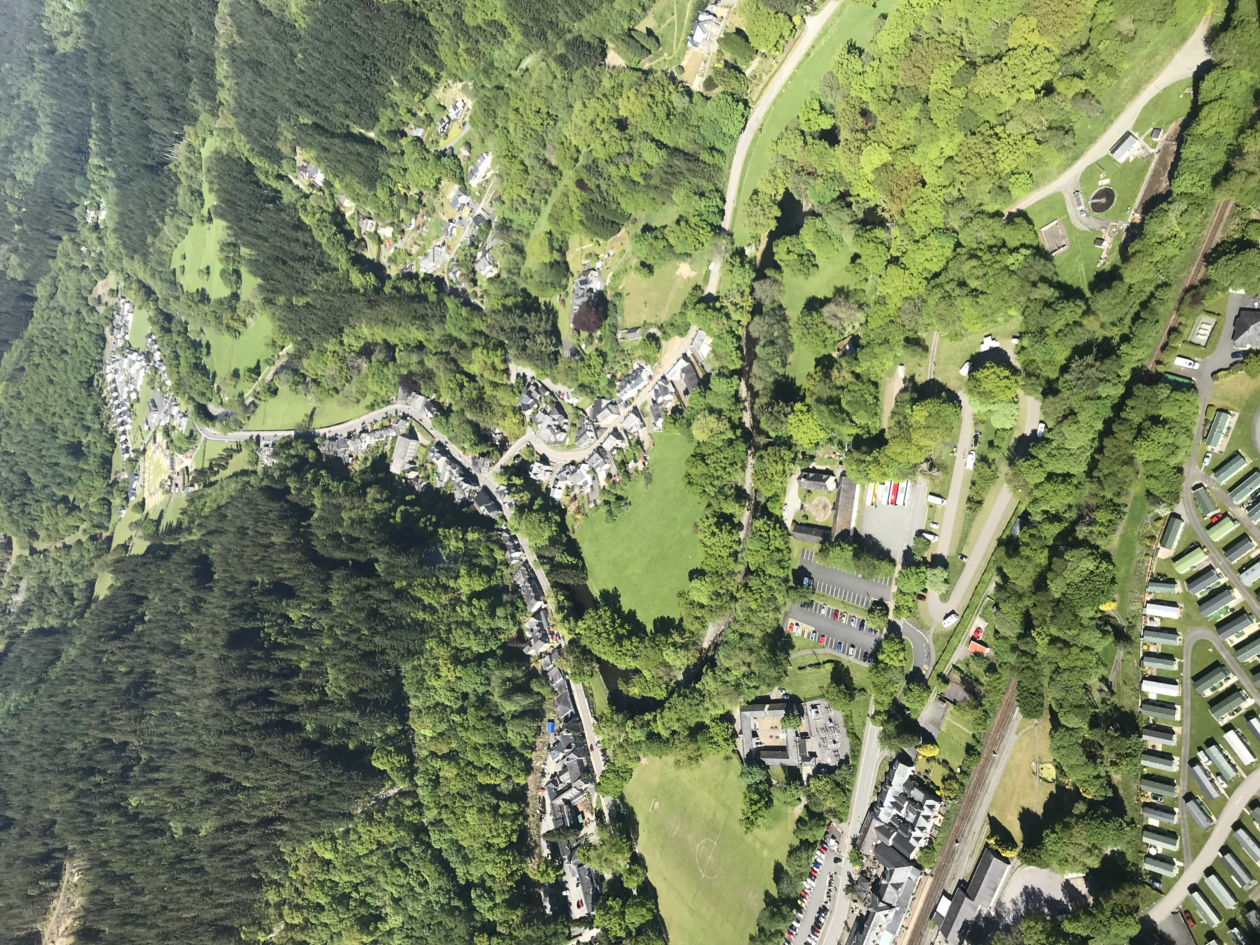 Betws-y-Coed from the sky