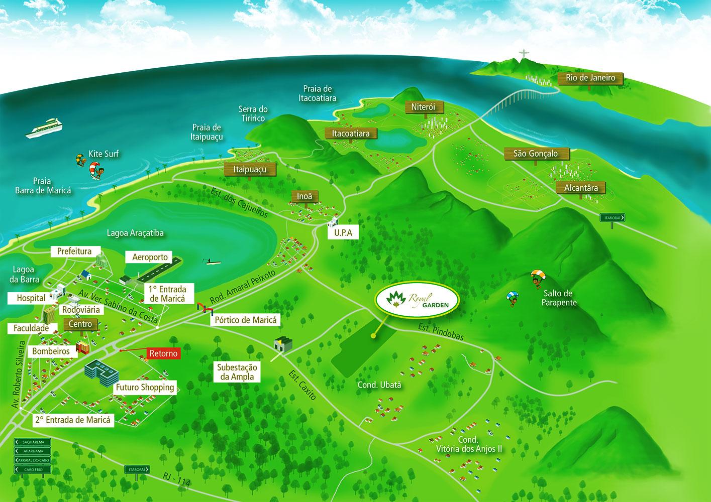Arte-Gráfica-Mapa-Localização-Royal-Garden-Marica-RJ
