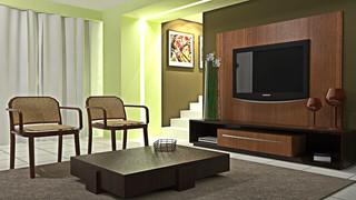 Maquete Eletrônica de sala de estar para a loja Quartzo Moveis