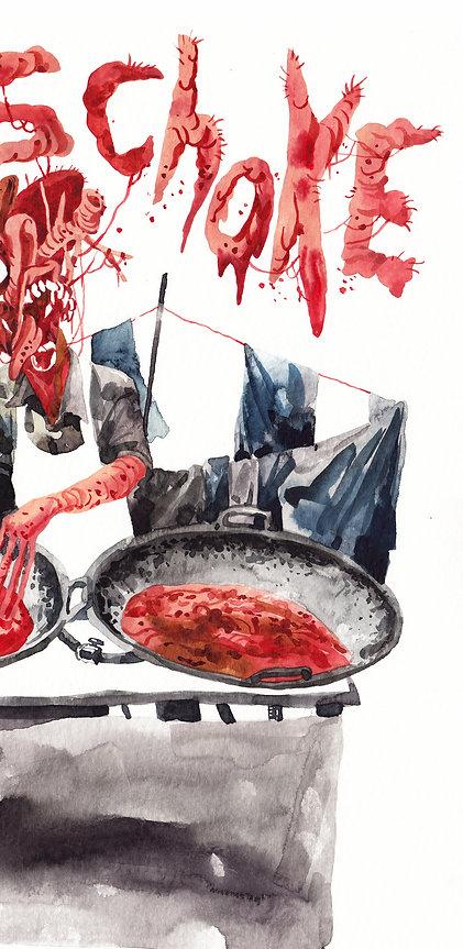 Pisang Coklat gore ilustrasi illustration Indonesia