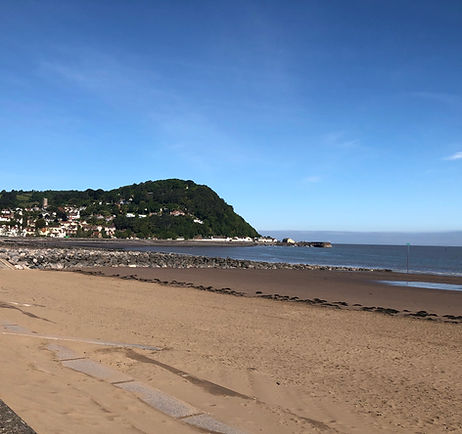Minehead beach with North Hill in the background