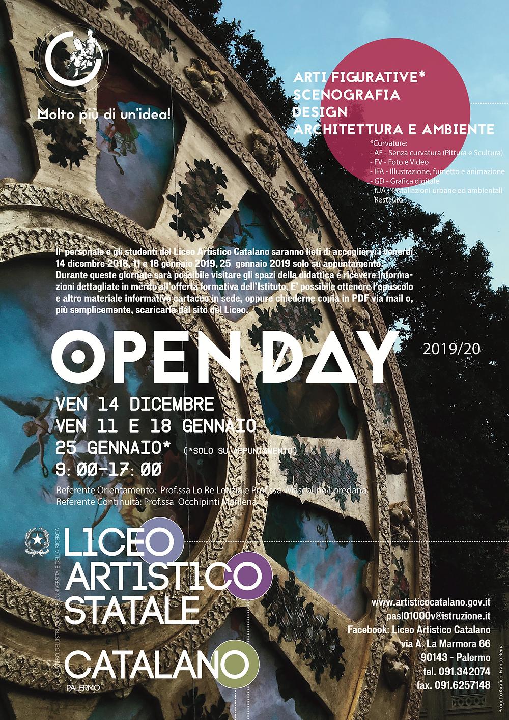 OPEN DAY ISCRIZIONI 2019-20 - LICEO ARTISTICO CATALANO