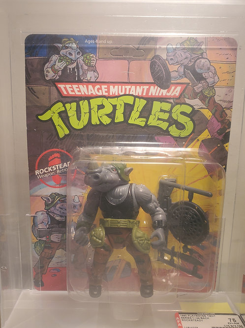 1990 Playmates TMNT Series 1/44 Back Rocksteady AFa Graded Unpunched