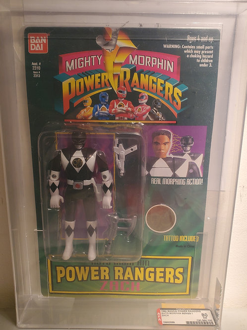 1994 Bandai Power Rangers Auto Morphin Series 1 Zach 80NM  Afa Graded