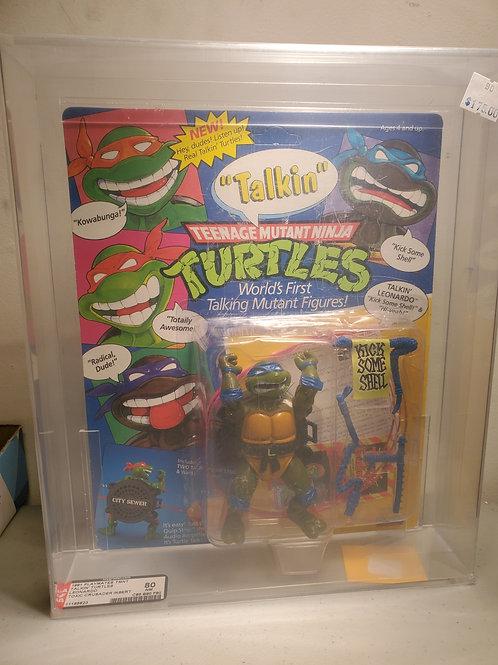 1991 Playmates TMNT Talkin Turtles Leonardo 80NM AFA Graded