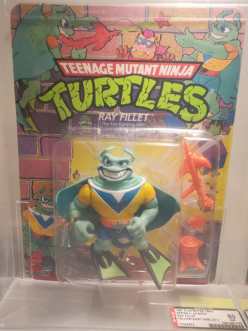 1991 Playmates TMNT Series 4/44 Back Ray Fillet Yellow Shirt W/Blue V