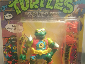 1991 Playmates TMNT 44  Back  AFA Graded 85Y-NM+ Mike the Sewer Surfer Unpunched