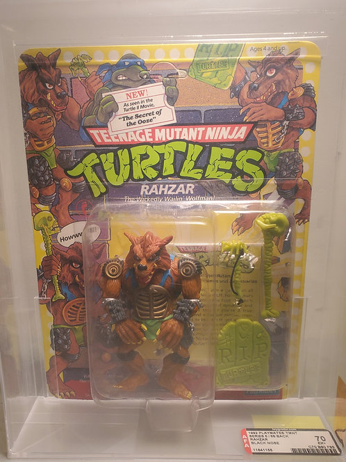 1992 Playmates TMNT Series 5/68 Back Rahzar Black Nose Varient Unpunched