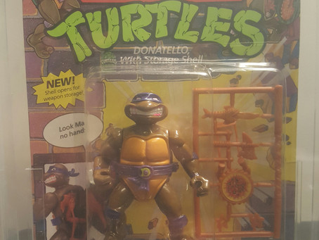 1991 Playmates TMNT 44 Back  AFA Graded 70Y-EX+ Donatello (ST Shell) Unpnuched