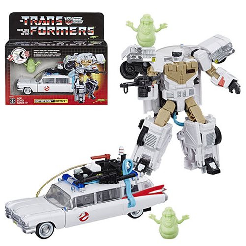 Transformers Generations Ghostbusters Ecto-1 Ectotron: What do you get when you cross the iconic Ecto-1 Cadillac from the 1984 Ghostbusters movie with a Transformers robot? A converting Paranormal Investigator, called Ectotron! Commemorate 35 years of both Transformers and Ghostbusters with 1 awesome 7-inch transforming robot figure. Includes: Ectotron figure, Slimer figure, 2 accessories, and instructions.
