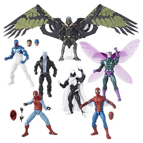 Amazing Spider-Man Marvel Legends Figures Wave 8 Case: Amazing Spider-Man Marvel Legends Wave 8  Awesome action figures in 6-inch scale.  Includes Spider-Man Web Wings, Spider-Man, Moon Knight, Cosmic Spider-Man, Tombstone, Beetle, and Vulture.  Wave 8 case contains 8 individually packaged figures.  Amazing Spider-Man Marvel Legends action figures bring back generations of Spidey and his friends and foes in popular 6-inch scale. Each awesome figure includes terrific accessories and amazing detail, plus a build-a-figure piece! Ages 4 and up.