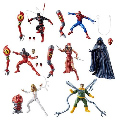 Amazing Spider-Man Marvel Legends Figures Wave 10 Case: Amazing Spider-Man Marvel Legends action figures bring back generations of Spidey and his friends and foes in popular 6-inch scale. Each awesome figure includes terrific accessories and amazing detail, plus a build-a-figure piece! Ages 4 and up.  This Amazing Spider-Man Marvel Legends Figures Case contains 8 individually packaged action figures: 1x Daredevil 1x Scarlet Spider 1x Elektra 2x Doc Ock 1x Dagger 1x Cloak 1x House of M Spider-Man