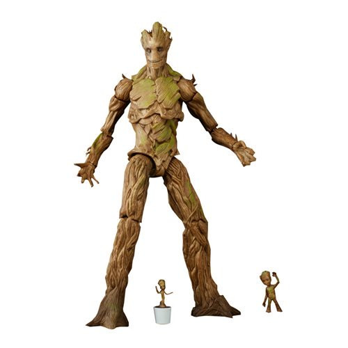 GOTG Marvel Legends Groot Evolution Action Figures Exclusive: Featuring 3 Groot figures with movie-inspired design and detail, the Guardians of the Galaxy Marvel Legends Groot Evolution Action Figures Set - Exclusive is an epic addition to any collection of legendary heroes. Groot gets a growth sprout – er, spurt – with this Groot Evolution 3-pack from the Marvel Legends Series, featuring 3 Groot figures in 3 different sizes. Imagine giving the galaxy something to root for with the 9-inch Groot figure, modeled after Groot in his adult form. Then, pretend to meet Groot as just a sapling with the included a pair of 1-inch Groot figures, which stand as reminders that inside every tree there is... an even smaller tree. From potted prodigy to towering tree-like humanoid, Groot uses powers of regeneration to become a legendary defender of intergalactic justice.
