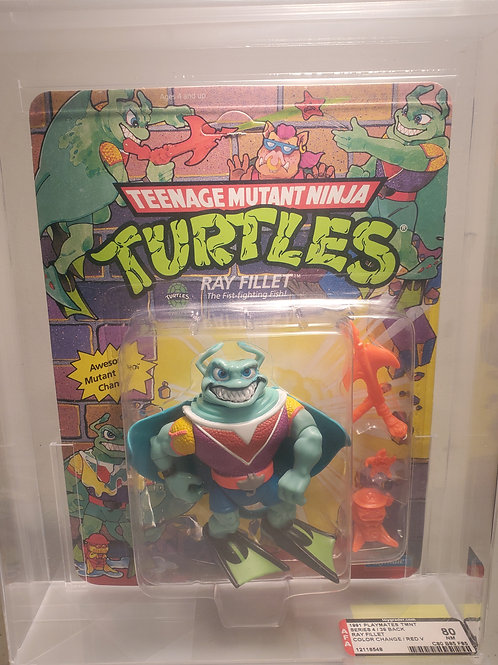 1991 Playmates TMNT Series 4 / 39 Ray Filet Color Change/Red V Varient Unpunched