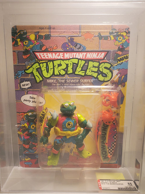 1991 Playmates TMNT Series 4/44 Back Mike The Sewer Surfer AFA Graded