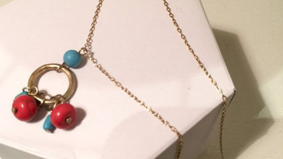 Turquoise and Coral Necklace gold tone chain