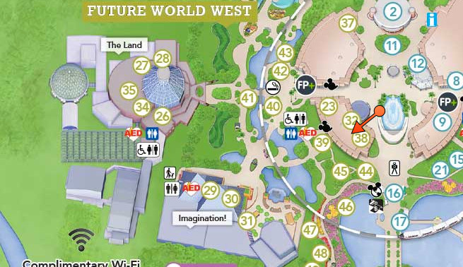 Location of Future World West's Secret Loo (follow the red arrow)