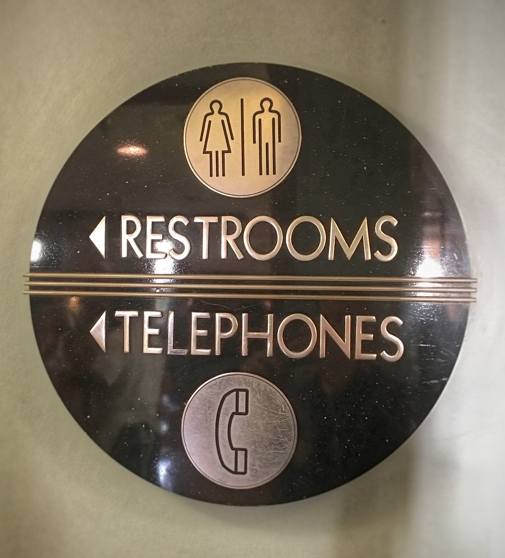 Restroom sign at 50's Prime Time Cafe