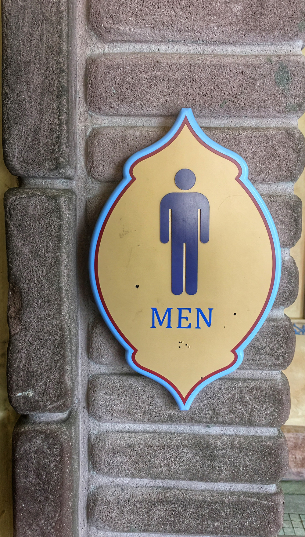Men's Room Sign, Frontierland/Adventureland Breezeway Magic Kingdom