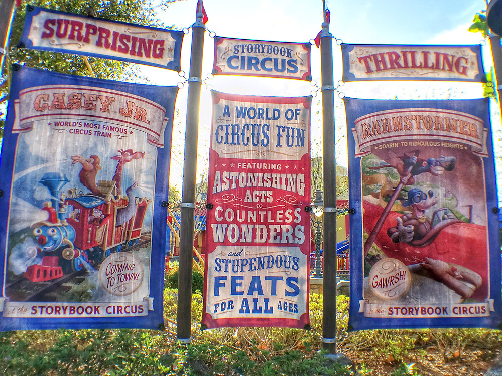 Weathered Attraction Signs Outside of Storybook Circus