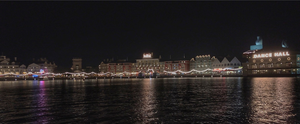 WDW's Boardwalk Area from Across Crescent Lake