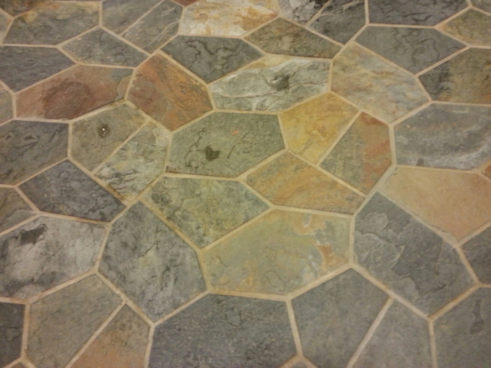 Tile Floor at Restroom at Saratoga Springs Treehouse Villas Pool