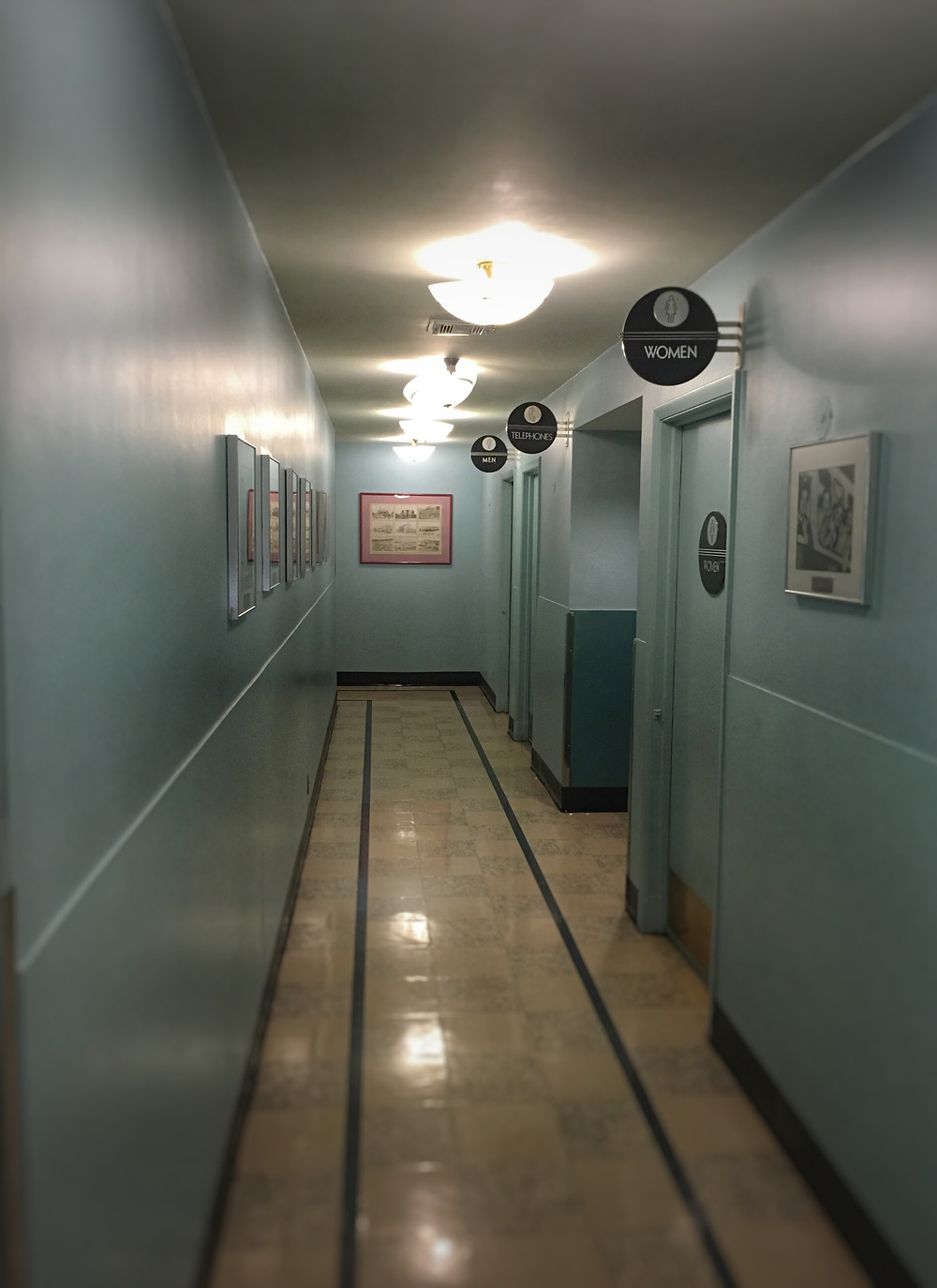 Hallway leading to restrooms at 50's Prime Time Cafe