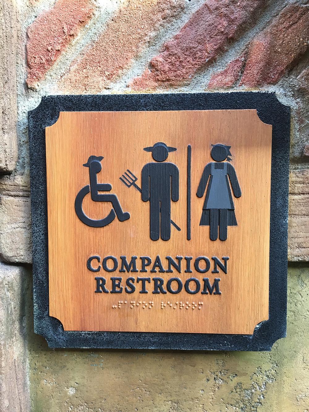 Companion Loo Sign, Gaston's Tavern Restroom, Magic Kingdom