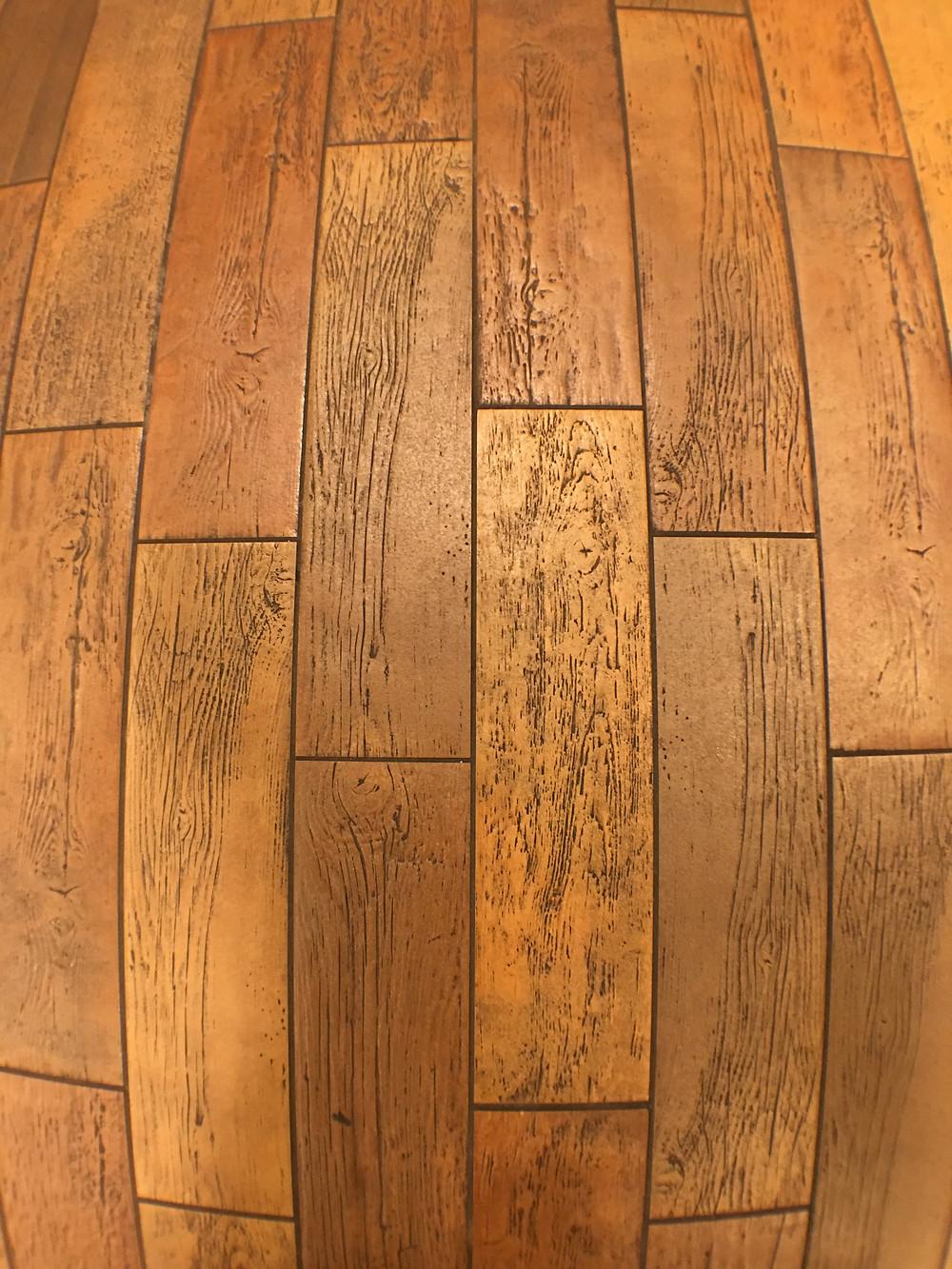 Faux Wood Flooring, Gaston's Tavern Restroom, Magic Kingdom