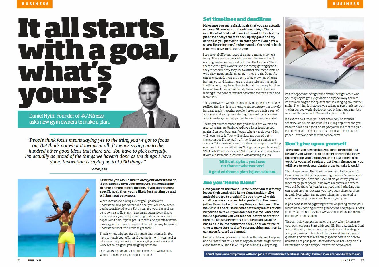 Daniel Nyiri CEO 4U Fitness Gym Owners Monthly Magazine