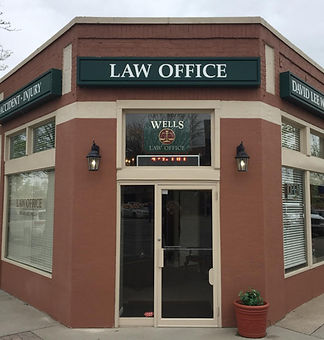 Outside of the David Lee Wells Law Office in the Kansas City area.