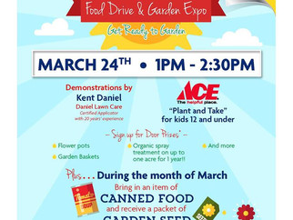March 24th! Food Drive & Garden Expo