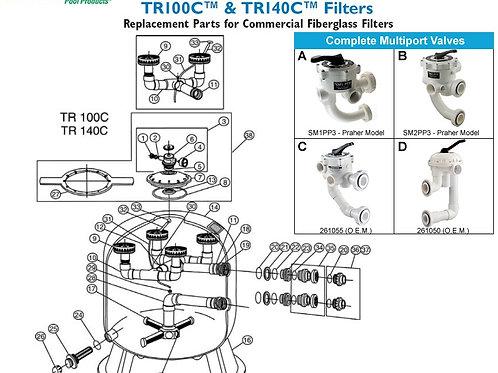 Pentair Triton II TR100C & TR140C Sand Filter Parts