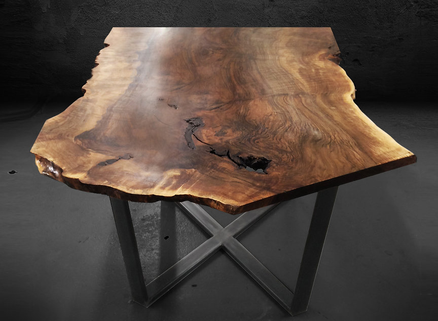 live edge wood slab table shown in walnut